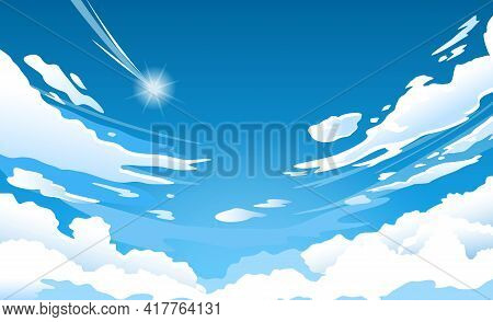 Anime Sky. Cloud In Blue Heaven In Sunny Summer Day, Cloudy Beautiful Nature Morning Scene With Fall