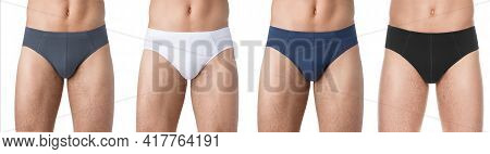 Set Mens Fashion Underwear. Strong Naked Man Shows His Panties On The Body. Athlete With Muscles Adv