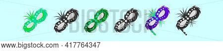 Set Of Mardi Gras Mask Cartoon Icon Design Template With Various Models. Modern Vector Illustration