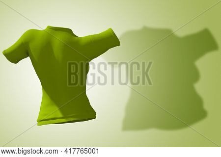 Conceptual fat overweight obese shadow female blouse outfit vs slim fit healthy body after weight loss or diet thin young woman on green. A fitness, nutrition or obesity health shape 3D illustration