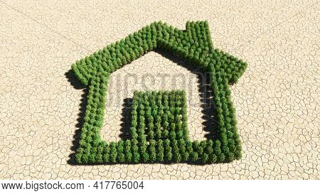 Concept or conceptual group of green forest tree on dry ground background, home button sign. 3d illustration metaphor metaphor for investment, real estate, construction, mortgage, residential