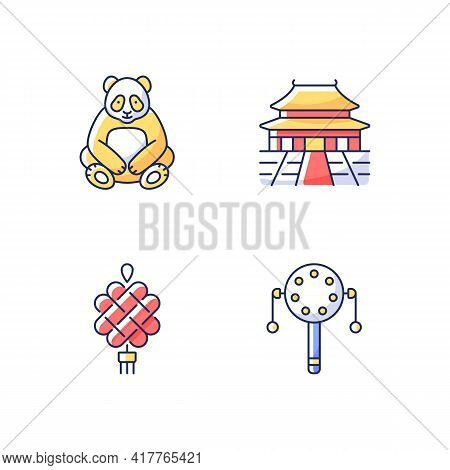 Chinese Culture Rgb Color Icons Set. Big Panda. Pellet Drum. Chinese Knotting. Forbidden City. Asian