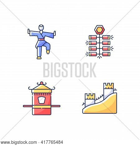 Traditional China Rgb Color Icons Set. Chinese Firecrackers. Kung Fu Fighter. Sedan Chair For Ethnic
