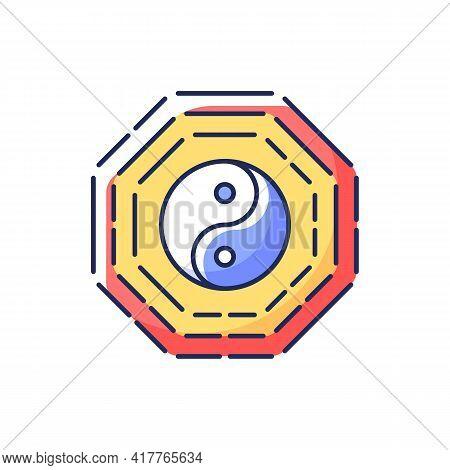 Bagua Rgb Color Icon. Harmony Of Eight Elements. Spirituality And Cosmology. Zen, Feng Shui. Traditi