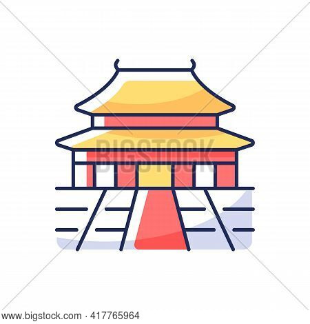 The Forbidden City Rgb Color Icon. Chinese Traditional Ancient Structure. Place For Tourist In China