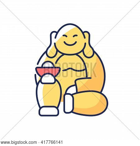 Laughing Buddha Rgb Color Icon. Pray For Prosperity And Wealth. Chinese Traditions. Spirituality And