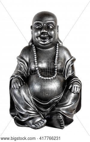 Happy Budha On White Background. Vertical Image.