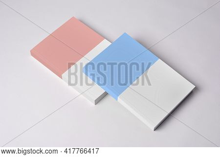 Two Closed Novel Book With Blank Cover On Table, Editable Psd Mock-up Series With Smart Object Layer