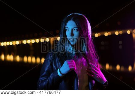 Millennial Girl Enjoying Nightlife In City Street. Youngster Woman Having Fun And Good Mood. Gorgeou