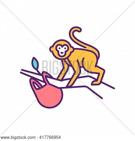 Jungle Monkeys Rgb Color Icon. Exotic Animals Living In Big Jungle Forests. Tourists Going On Safari