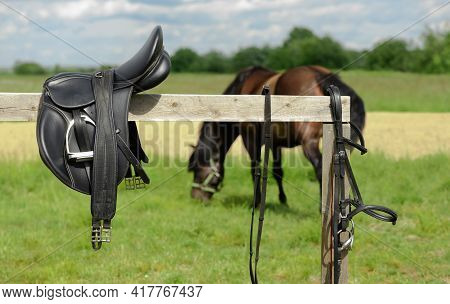 Leather Bridle And Saddle Are On Hitching Post In Outdoors.