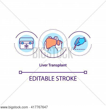 Liver Transplant Concept Icon. Diseased Liver Replacing Idea Thin Line Illustration. Living-donor Or