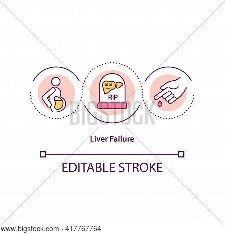 Liver Failure Concept Icon. Life-threatening Symptoms Idea Thin Line Illustration. Excessive Bleedin