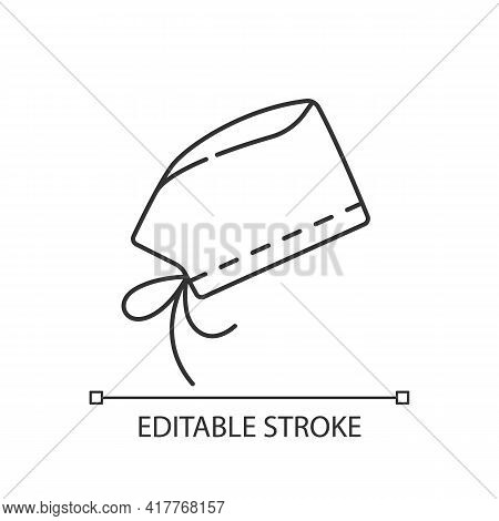 Surgical Cap Linear Icon. Protective Wear From Virus Infection. Surgeon Suit For Operating. Thin Lin