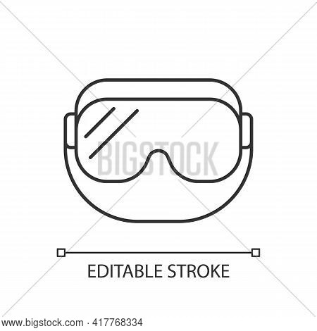 Medical Goggles Linear Icon. Medical Equipment For Eyes. Protective Wear For Work In Laboratory. Thi