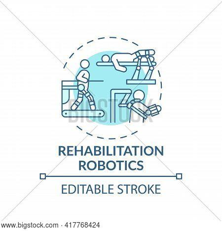 Rehabilitation Robotics Concept Icon. Rehabilitation Engineering Idea Thin Line Illustration. Roboti