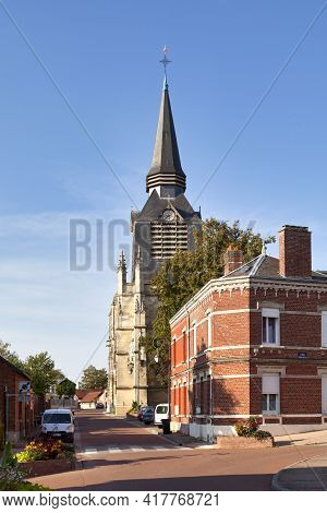 Montdidier, France - September 12 2020: Saint-pierre Church In The City Center Not Far From The Town