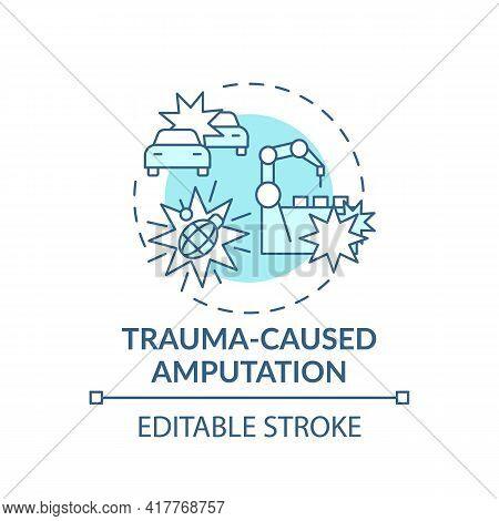 Trauma-caused Amputation Concept Icon. Amputation Cause Idea Thin Line Illustration. Power Tools, Fi