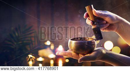 Woman Hands Playing Tibetan Singing Bowl - Translation Of Mantras : Transform Your Impure Body, Spee
