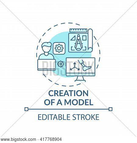 Model Creation Concept Icon. Artificial Limb Manufacture Idea Thin Line Illustration. Preliminary Ex