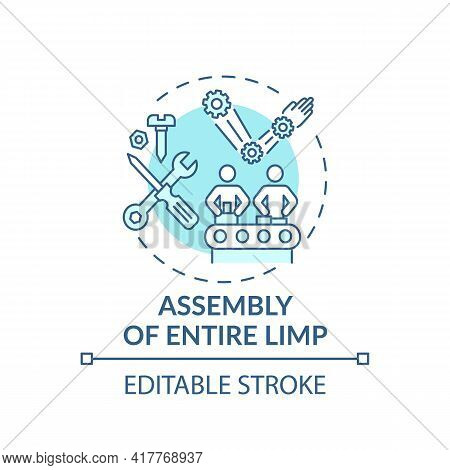 Entire Limb Assembly Concept Icon. Biomedical Engineering Idea Thin Line Illustration. Prosthetic Co