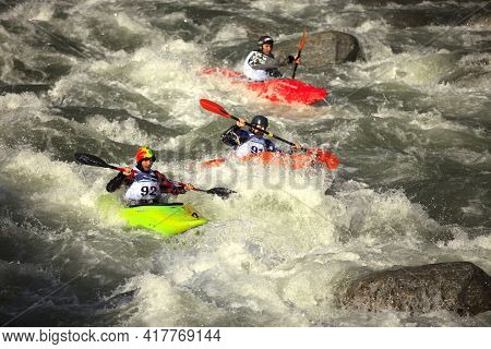 Crodo (vco), Italy - May 10, 2016: Kayak Competition In Toce River, Crodo, Vco, Piedmont, Italy.