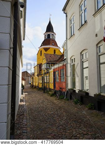 Classical Old Bell Tower Landmark Of The Old City Faaborg Funnen Denmark  - Vertical Image