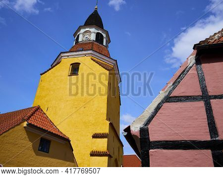 Classical Old Bell Tower Landmark Of The Old City Faaborg Funnen Denmark