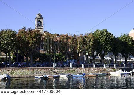 Sesto Calende (va), Italy - September 15, 2016: The Ticino Riverside At Sesto Calende, Lombardy, Pie
