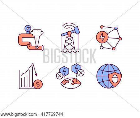 Energy Industry Rgb Color Icons Set. Digital Transformation. Gas Leakage. Economic Slowdown. Network