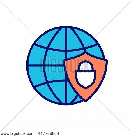 Network Security Rgb Color Icon. Computer Networks, Data Accessibility. Safety From Cyberattacks, Ha