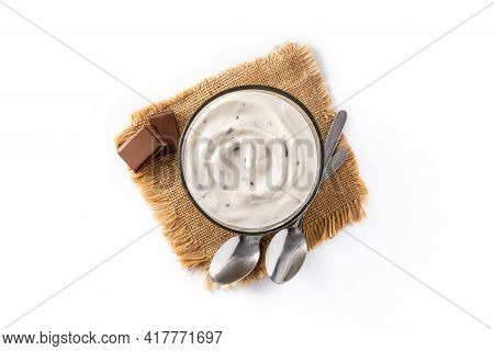 Stracciatella Yogurt In Transparent Bowl Isolated On White Background. Top View