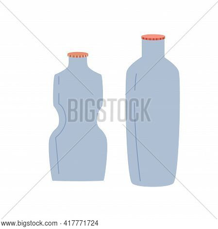 Zero Waste, Plastic Bottles Isolated On A White Background. Recycling Of Garbage, Natural Products,