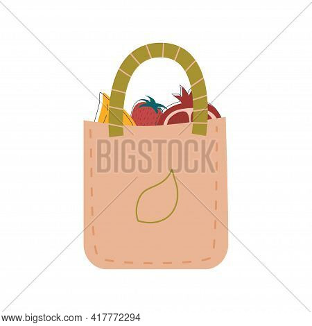 Zero Waste, Bag With Products Made Natural Materials Isolated White Background. Recycling Garbage, N