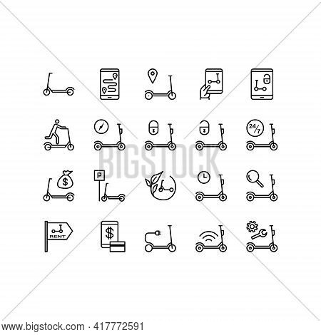Kick Scooter And Electric Scooter Flat Line Icons Set. Rental, Sharing Service, Mobile App, Parking,
