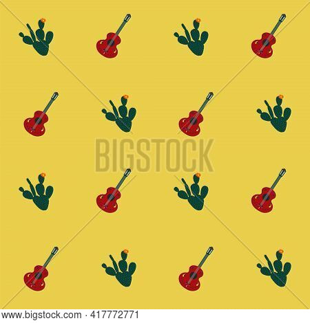 Mexican Guitar And Cactus Vector Seamless Pattern On Yellow Background. For Textile, Banner, Card, C