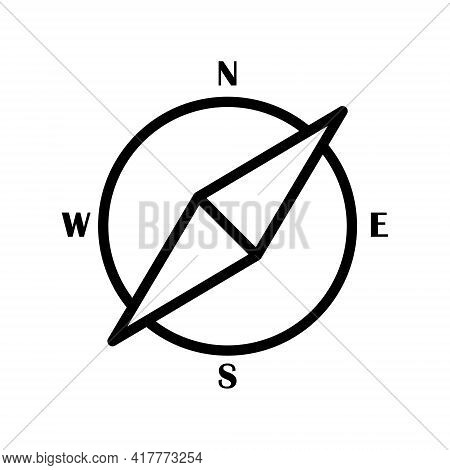 Compass Flat Line Icon. Navigation Equipment Vector Illustration. Outline Signs For Website Design,