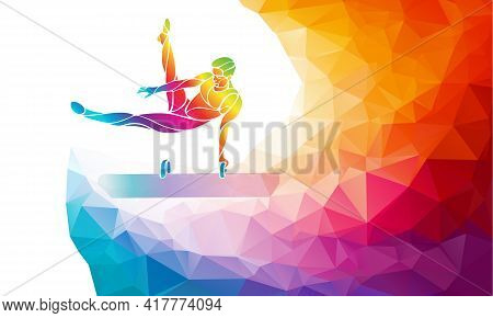 Pommel Horse Male Gymnast In Artistic Gymnastics Vector