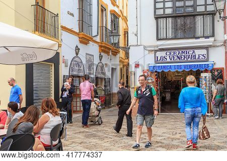 Seville, Spain - May 21, 2017: This Is One Of The Crossroads In The Historic Medieval Jewish Quarter