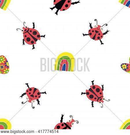 Cute Kawaii Ladybirds, Rainbows, Hearts Seamless Vector Pattern Background. Happy Dancing Ladybugs I