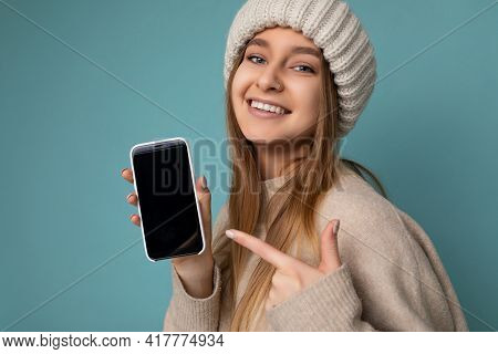 Closeup Photo Of Beautiful Smiling Young Woman Good Looking Wearing Casual Stylish Outfit Standing I