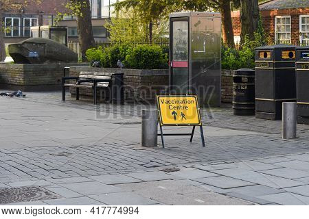 St Albans. England. April 21 2021 - Street Signs Directing People To Covid-19 Vaccination Centre In