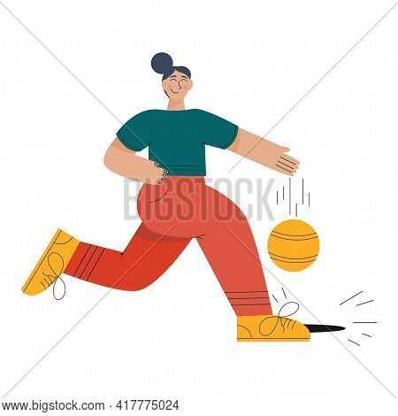 Trending Person Plays Ball Isolated On White Background. Girl With Ball Plays Basketball Or Soccer.
