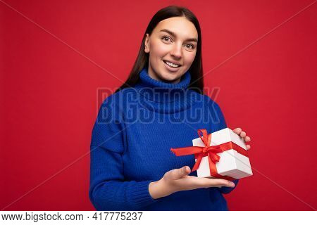 Shot Of Attractive Positive Smiling Young Brunette Woman Isolated Over Colourful Background Wall Wea