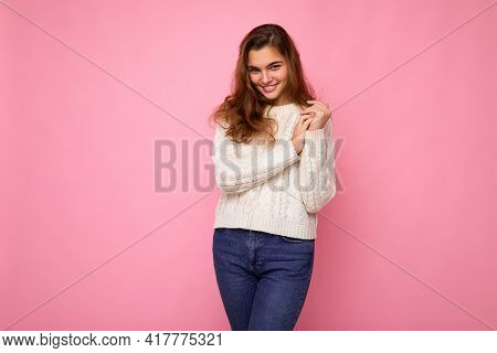Portrait Of Positive Cheerful Fashionable Woman In Formalwear Looking At Camera Isolated On Pink Bac