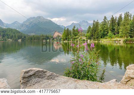 Famous Glacial Mountain Lake Strbske Pleso In High Tatras, Slovakia