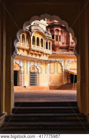 Arched gateway in Mehrangarh fort. Jodhpur, Rajasthan, India