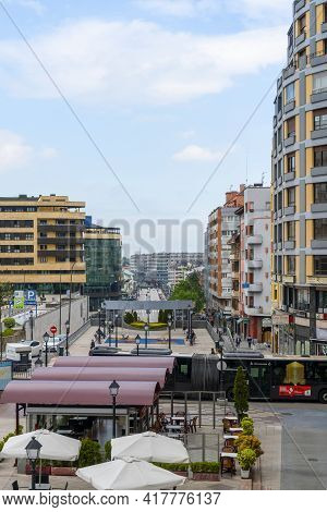 Oviedo, Spain - April 20, 2020: Modern Avenue In The Station Area Of The European City With Hotels A