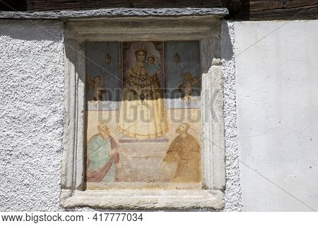 Canza (vco), Italy - June 21, 2020: A Religius Paint At Canza Village, Formazza Valley, Ossola Valle