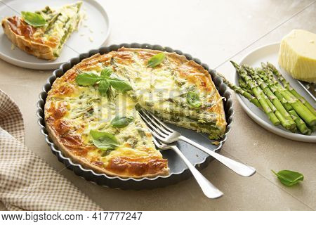 Asparagus Tart, Vegan Quiche Homemade Pastry, Healthy Foods
